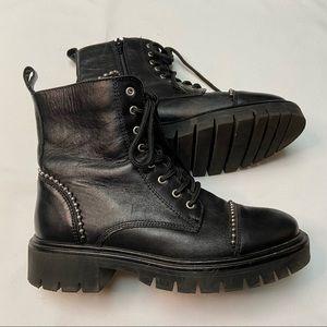 Aldo black leather combat boots size 8